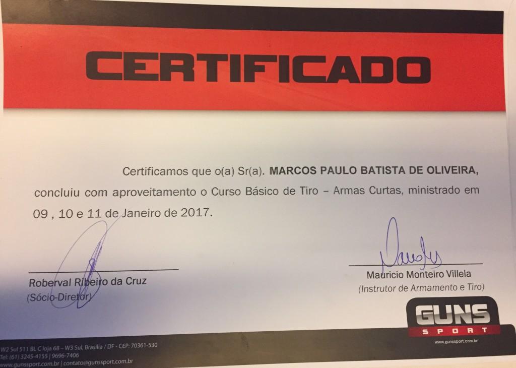 certificado do curso de tiro