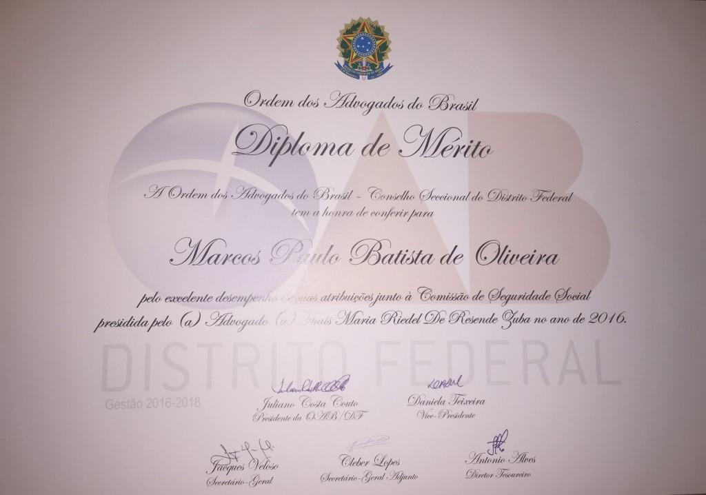 Diploma de Mérito 2016